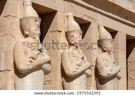 Statue of the Queen Hatshepsut's temple. Dayr el-Bahari or Dayr el-Bahri, part of the Theban Necropolis. Stock photo ©