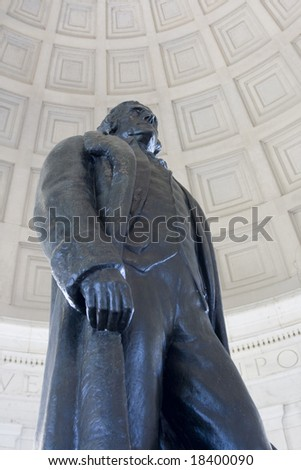 Statue of Thomas Jefferson at Jefferson Memorial in Washington DC