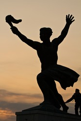 Statue of torch-bearer on Gellert Hill, Budapest (capital of Hungary)