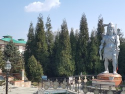 statue of traditional Indian Saint in front of the trees