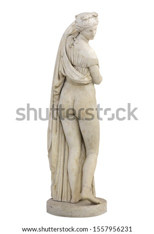 Statue of Venus Callipyge or Aphrodite Kallipygos or Callipygian Venus (Venus of the beautiful buttocks. Isolated with clipping path