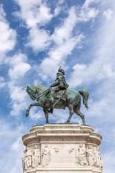statue of Victor Emmanuel II at the altar of the fatherland in Rome, Italy