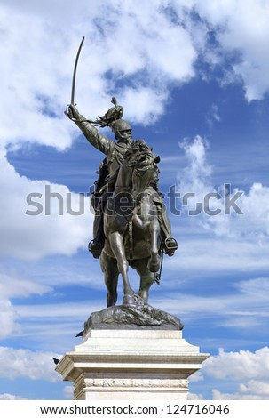 Statue of Victor Emmanuel II (Vittorio Emmanuele II) at San Marco Square, Venice - Italy. Image assembled from few frames