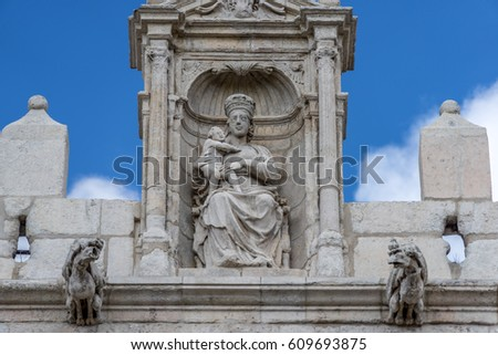 Statue of Virgin Mary in the Gateway of Santa Maria (Arco de Santa Maria) erected in the 14th-century for the first entrance of the Emperor Charles V, in Burgos Spain #609693875