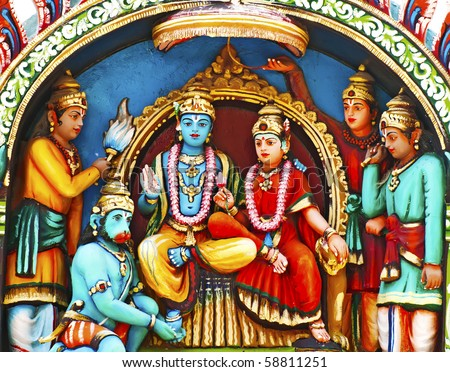Statue of Vishnu on Hindu temple vadapalani murugan temple, Chennai, India