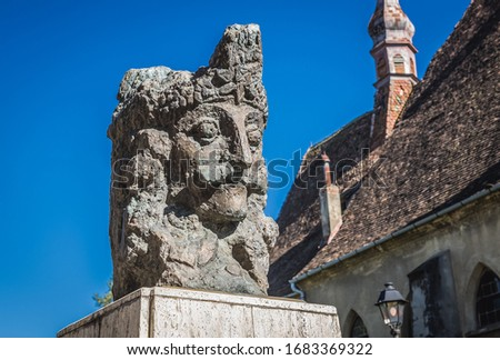 Statue of Vlad the Impaler in front of Dominican Monastery Church in Sighisoara, Romania Сток-фото ©