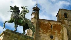 Statue on horseback of Francisco Pizarro in the main square of Trujillo Spain, conqueror of Peru