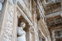 Statue on the Front of Celsus Library at Ephesus