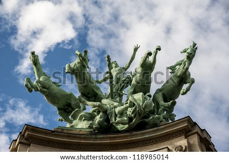 Statue on the Grand Palais in Paris, France, at the Champs Elysees, created for the Universal Exposition of 1900