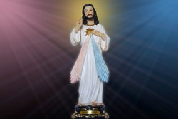 Statue representing the merciful Jesus Christ, divine mercy - Catholic symbol