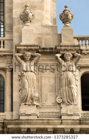 Statues, applied monuments placed on facades and by the squares of European cities #1373285327