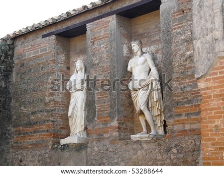 Statues at the ancient Roman city of Pompeii, which was destroyed and buried during the eruption of Mount Vesuvius in 79 AD