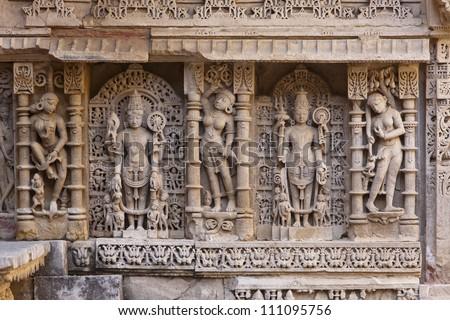 Statues at the Rani Ki Vav Step Well in Patan, Gujarat, India.
