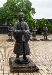 Statues Confucians in Nguyen Dynasty, Minh Mang Royal Tomb in Hue, Vietnam