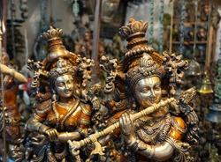 Statues, Idols of Lord Krishna playing flute and Radha.