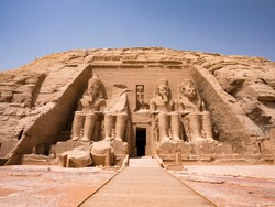 Statues in front of Abu Simbel temple in Aswan Egypt