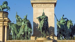 Statues in Heroes Square, one of the major squares in Budapest, Hungary. Iconic statues featuring the Seven Chieftains of the Magyars. The Millennium Monument is a famous tourist attraction.