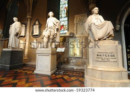 Statues in St. Patrick's Cathedral in Dublin, Ireland.