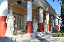 Statues in the balcony of Achillion princess Sissy's palace in Corfu, Greece