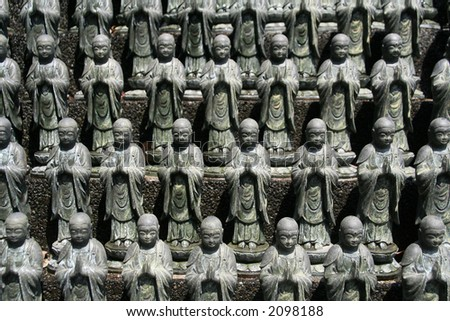 Statues of Buddha from a temple in Shikoku, Japan.