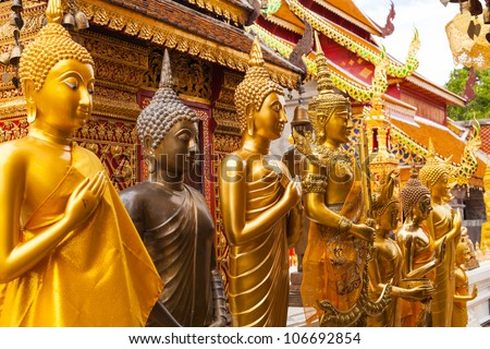 Statues of Buddha in a temple Doi Suthep, Chiang Mai, Thailand
