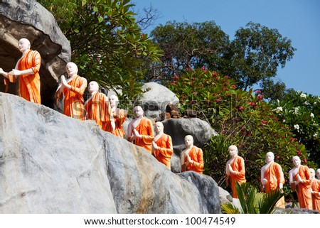 Statues of Buddhist Monks at the Rock Temple  Dambulla, Sri Lanka
