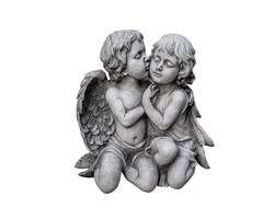 Statues of girls and men isolated on white background. Clipping path image.