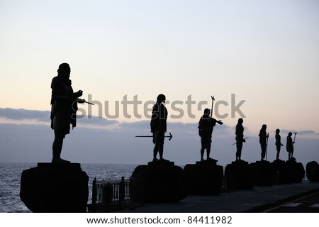 Statues of Guanche Kings in Candelaria,Tenerife, Canary Islands Spain