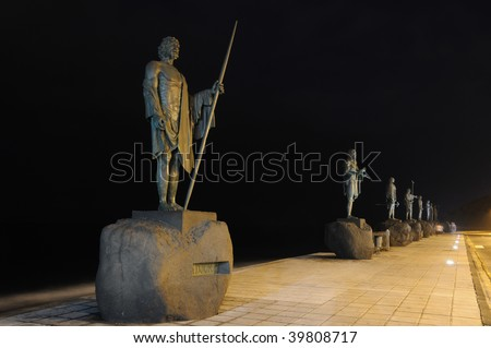 Statues of Guanches Kings in Candelaria. Canary Island Tenerife, Spain