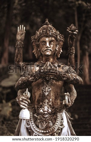 Statues of guardian god temple in Bali. Brahma Vihara Arama with statues gods. balinese temple, old hindu architecture, Bali architecture, ancient design. Travel concept. indonesia Stok fotoğraf ©