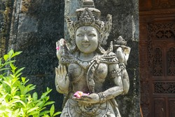 Statues of guardian gods temple in Bali. Brahma Vihara Arama with statues gods. balinese temple, old hindu architecture, Bali architecture, ancient design. Travel concept. indonesia