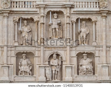Statues of important figures in the history of Burgos and Castile on the St. Mary Arch - Burgos, Castile and Leon, Spain #1140013931
