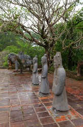 Statues of Mandarin Khai Dinh Royal Tomb in Hue, Vietnam. Nguyen Dynasty