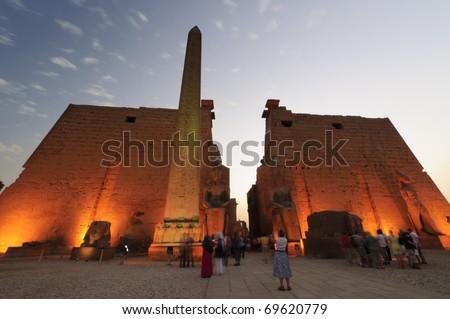 Of ramses ii and obelisk of luxor temple luxor egypt stock photo