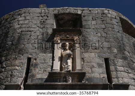 Statues of Saint Vlaho over Pile Gate. Blaise is the patron saint of the city of Dubrovnik (where he is known as Saint Vlaho) and formerly the protector of the independent Republic of Ragusa.