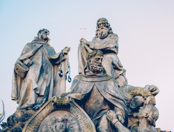 Statues of Saints John of Mata, Felix Valois and Ivan on the Charles Bridge in Prague