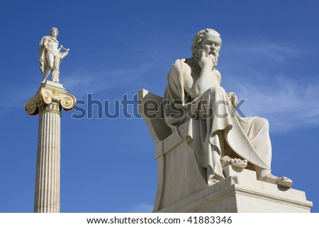 Statues of Socrates and Apollo in Athens, Greece.