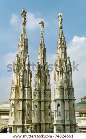 Statues of the Cathedral Dome in Milan.