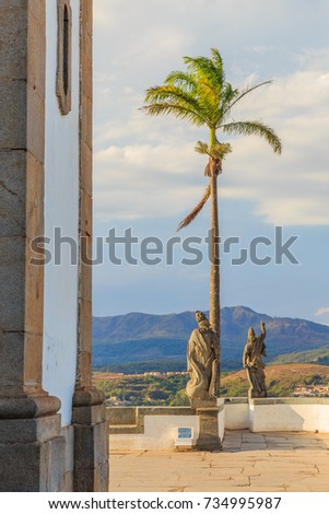 Statues of the prophets sculpted by Aleijadinho in front of the church of the sanctuary of Bom Jesus of Matosinhos at Congonhas, Minas Gerais, Brazil