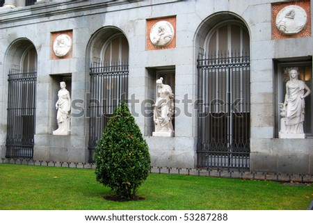 Statues on a facade of Prado Museum, Madrid, Spain