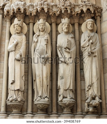 Statues on Notre Dame Cathedral in Paris, France.