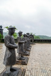 Statues Soldiers Khai Dinh Royal Tomb in Hue, Vietnam. Confucians in Nguyen Dynasty.