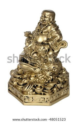 Statuette of Hotei (Buddha) to the toad on the white background