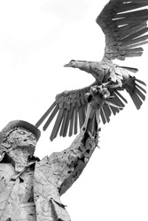 stature man with a bird in the air against a white background in black and white