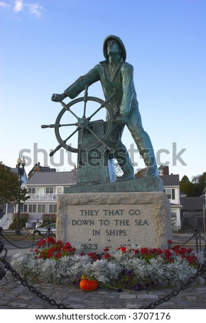 Stature of first fisherman sailor in new england