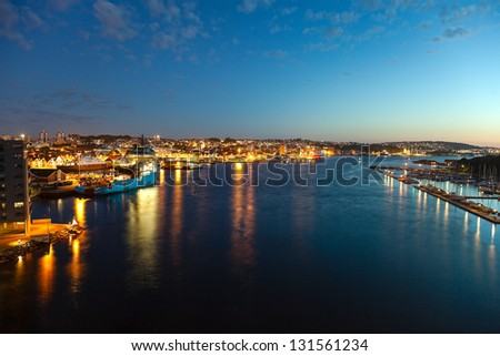 Stavanger - Cityscape at night, Norway.