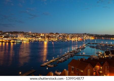Stavanger marina at night, Norway.