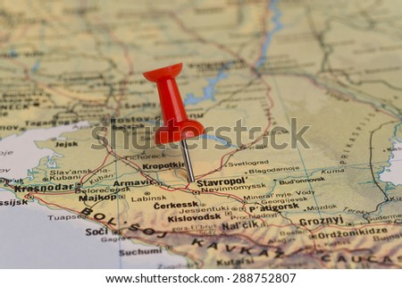 Stavropol marked with red pushpin on map. Selected focus on Stavropol and pushpin.