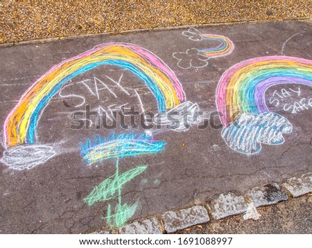 Stay Safe Chalk Drawing on Pavement Made by children