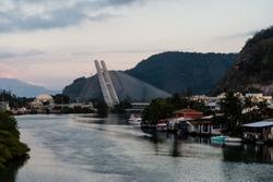 stayed bridge over Marapendi Lagoon during sunrise on cloudy morning, Barra da Tijuca, Rio de Janeiro.